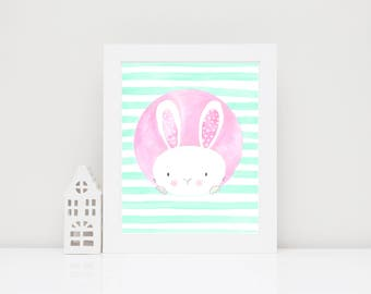 Kawaii Bunny Print, Girls Bedroom Wall Decor, Mint Green Wall Art, Bunny Nursery Decor, Bunny Nursery Art, Mint Green Nursery, Watercolor