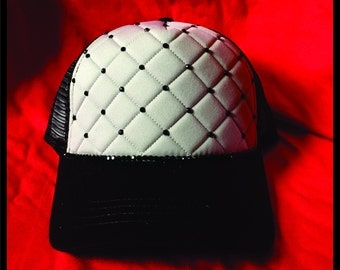 Blinged Quilted Trucker Hat Gray/Black