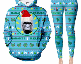 Harambe Christmas Sweater Hooide and leggings, Full Print Sweater, Funny Sweater, Humorous Sweater, all over print clothes