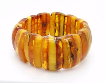 Genuine Baltic Amber Bracelet 34 Grams - Three Color Amber Beads - Butterscotch Amber Bracelet, Stretch Bracelet, Vintage Jewelry