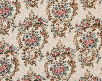 Green Blue And Burgundy Floral Tapestry Upholstery Fabric By The Yard | Pattern # F640