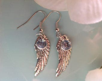 Angel wing earrings, blue Swarovski earrings, Angel wing jewelry, handcrafted jewelry, handcrafted, handmade, trendy jewelry