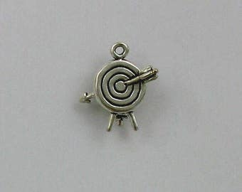 925 Sterling Silver Arrow and Target Charm, Sports & Archery Theme Jewelry - SP105