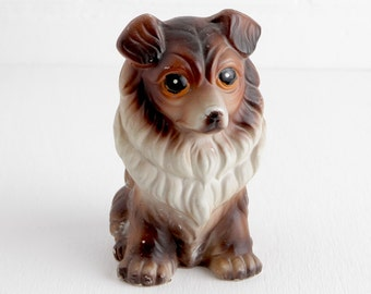 Vintage Ceramic Dog Bank, Collie or Shetland Sheepdog Sheltie Bank Figurine