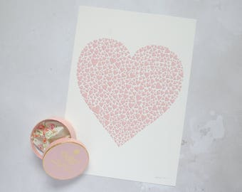 Pink heart print –new baby gift – pale pink art– girl's nursery – love gift – first anniversary – wife gift – pretty wall art – wedding