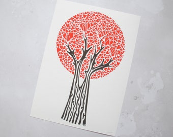 All You Need Is Love red heart tree print –first anniversary gift – gift for wife – love gift – wedding present – gift for lover – engaged