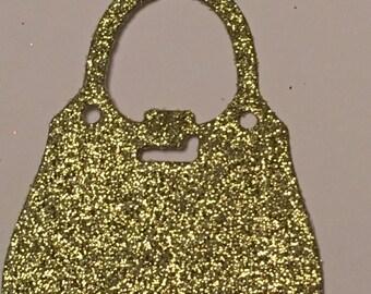 12 die cut handbags - gold glitter