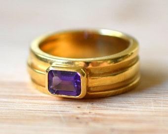 Vintage Tiffany & Co 18K Yellow Gold Amethyst Ring - Tiffany Ring - Amethyst Engagement Ring - Vintage Amethyst Ring