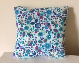 Turquoise Pillow - Turquoise Cushion - Turquoise Pillow Cover - Turquoise Cushion Cover - Flower Pillow - Flower Cushion Cover