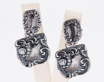 Vintage Earrings - Vintage Sterling Silver Detailed Dangles