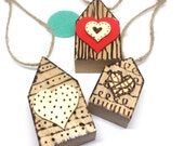 Pyrography Mini Houses, New Home Gift, Set of 3 House Ornaments, Wood Hanging Decoration, Home Is Where The Heart Is.