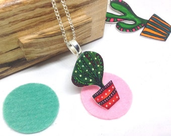 Cactus Necklace, Illustrated Succulent Jewellery, Prickly Pear Shrink Plastic Pendant, Shrinky Dink Pot Plant Jewelry, Cute Gift for Friend.