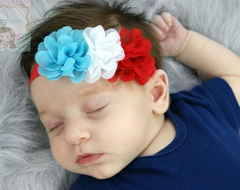Red White And Blue Flower Headband Fourth 4th Of July Baby Girl Patriotic