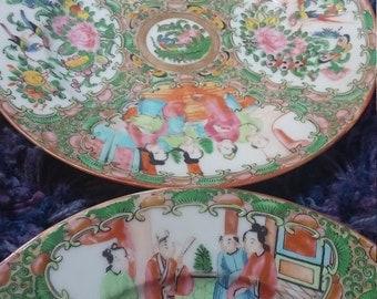 Antique China Plates 6 Rose Mandarin Chinese Plates set of 6 Hand Painted Rare Porcelain Asian & Antique Chinese Hand Painted Plate 1890s Rose Mandarin Asian