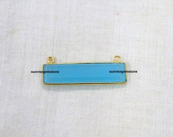 Sale 30% Off 1 Pcs Sea Blue Chalcedony Station Rectangle Shape 34X8mm 24k Gold Plated Double Bail Faceted Bezel Connector.