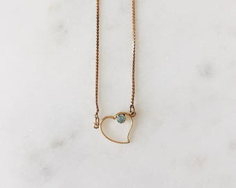 1980's Vintage Delicate Gold Minimal Heart with Aquamarine 15 ""