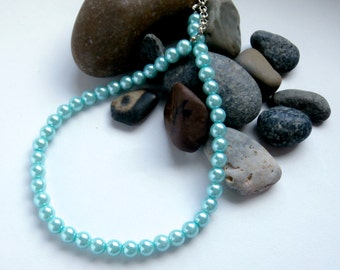Aqua Blue - Pearl Necklace - Glass Pearls - One of a Kind - Repurposed Jewelry