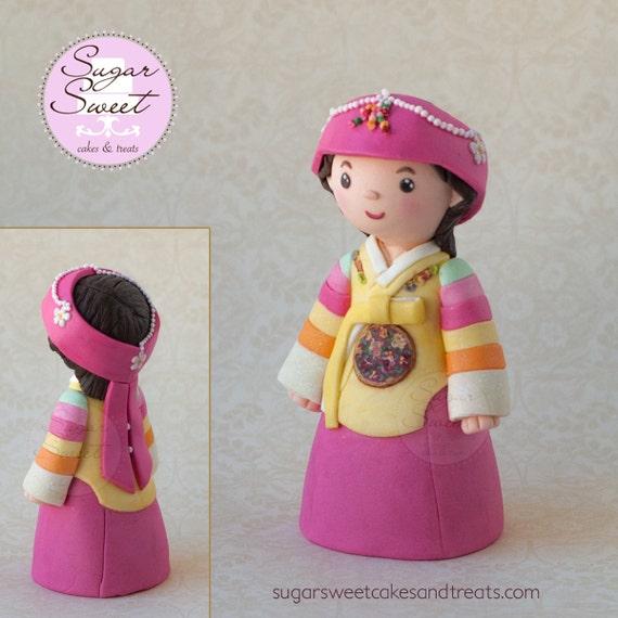 Custom Hanbok Doljanchi Girl Cake Topper Korean First 1st