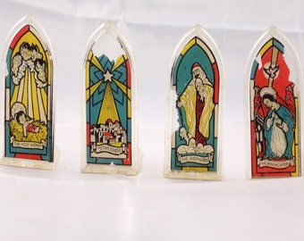 Vintage Plastic Stained Glass Windows Ornaments/Antique Ornaments/Christmas Nativity Ornament/Nativity Scene/Antique Stained Glass Ornaments