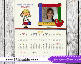 Digital Personalized Back to school calendar - 8x10 - Back to shool calendar - Digital printable
