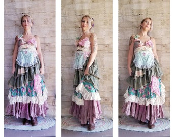 Pink Sunshine Shabby floral lace layered anthropologie inspired peasant repurpose country ruffle Boho altered mori maxi Dress upcycled S M