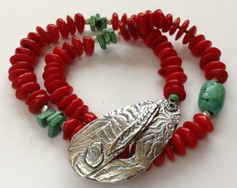 Lucky Red Coral Double Wrap Bracelet with Silver Toggle