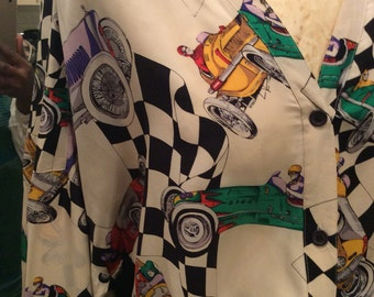 Vintage ladies silk printed shirt