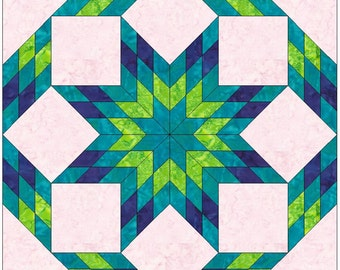 Beautiful Rolling Star 2 - 10 Inch Paper Piece Foundation Quilting Block Pattern