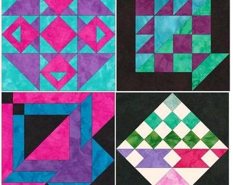 10 Inch Basket Foundation Set 1 Paper Piecing Quilting 4 Block Patterns PDF