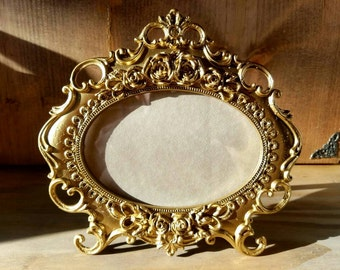 Intricate Gold Rose Cast Iron Picture Frame Vintage Style Shabby Chic Distressed Old World