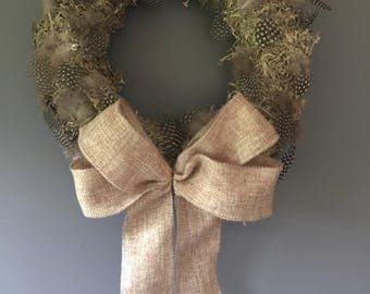 Easter wreath, Spring wreath, feather wreath, moss wreath. 11 inch wreath with fine hessian bow.