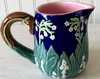 Vintage Ceramic Pitcher, Lily of the Valley/Floral, Creamer, Vase, Cottage, Shabby Chic, Farmhouse, French Country