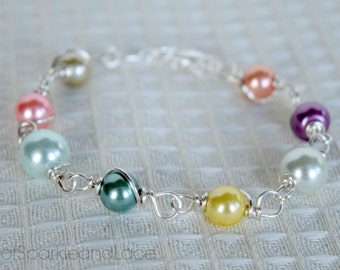 LDS Young Women Values Braclet - Pearl Wire Wrapped Bracelet - Young Women Gift