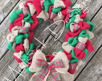 Free Shipping!! Burlap Christmas Wreath
