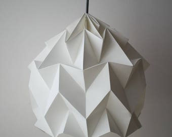 Paper lamp. Origami. Model white Luzada.