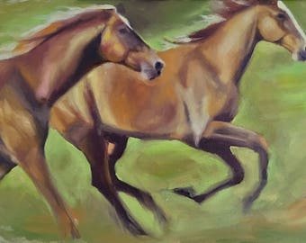 """Oil Painting Of Horses Running 8""""x10"""""""