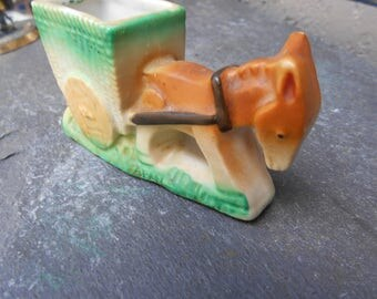 Ceramic Donkey Drawn Cart Tooth Pick Holder marked Occupied Japan 1947-1952