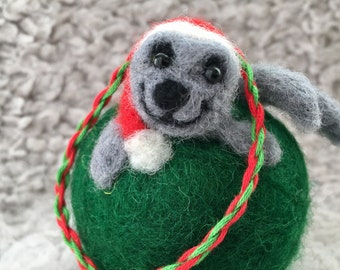Santa Seal Wool Christmas Tree Ornament needle felted seal wearing Santa hat