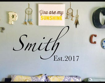 Family Name Wall Decal, Wall Vinyl, Name Decal, Wall art, Wall Sticker, Name Sticker
