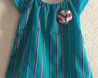 Beautiful traditional mexican blouse with bloomer and colorful  headband.