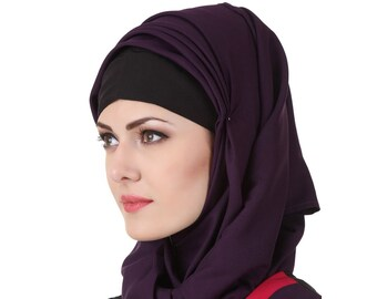 MyBatua Purple Kashibo Islamique Moderne Hijab, Prayer Hijab, Carré \u0026  Rectangulaire, Mode Foulards