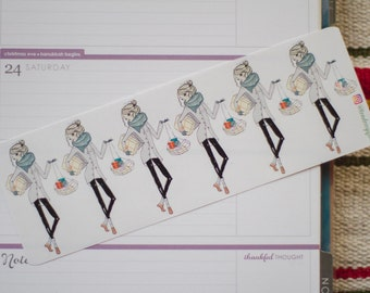 Cute Christmas shopping girl - functional doodle character girl planner stickers suitable for any planner -225-
