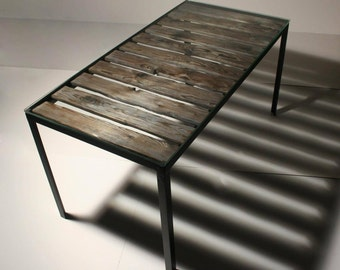 Reclaimed Wood and Glass Coffee table/ Metal Coffee Table / Pallet table / Pallet coffee table