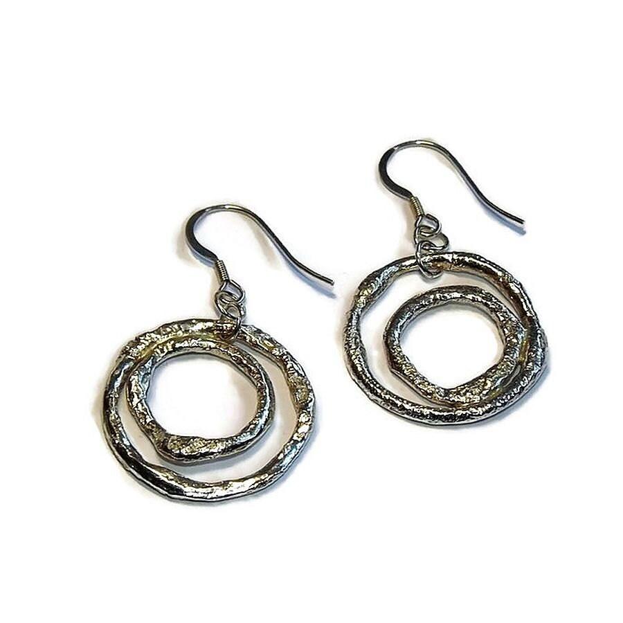 double hoop earrings sterling silver earring hoops dangle. Black Bedroom Furniture Sets. Home Design Ideas