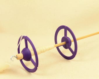 Purple Space Station Dual Whorl  Drop Spindle Lightweight.