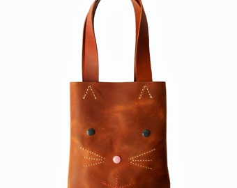 SMALL LEATHER TOTE/ leather light brown kitty tote bag, shoulder bag, carryall. handmade