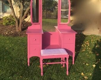 Vanity /Hot pink Mirror and stool. Vintage solid wood