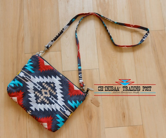Navajo Cross Body Purse Grey Turquoise and Silver By SommerNani