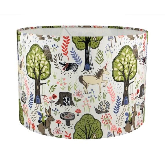 licorne enchanted forest tissu fait main abat jour uk eu us. Black Bedroom Furniture Sets. Home Design Ideas