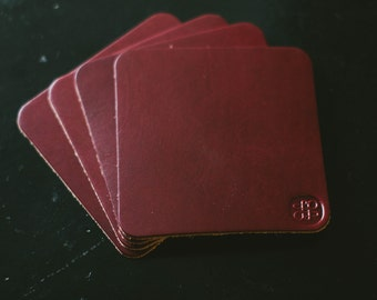 Burgundy Leather Coaster Set by Legacy Brand Leather